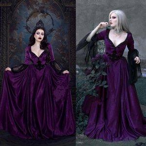 2021 фиолетовый платье свадебные платья с кружевом с длинным рукавом аппликации с длинным рукавом.