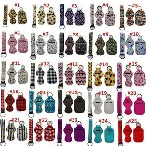 3 Pieces Travel Keychain Holders Kits, Including 30ml Hand Sanitizer Keychain, Wristlet Keychains Lanyard, Chapstick Holder AAZM