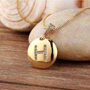 Frauen Mädchen Erstbriefketten Halskette Gold Zirkon A-Z Buchstaben Anhänger Halsketten Halsschmuck