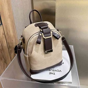 New Women Backpack Contrast Fashion Wild Shoulder School Bag Pu Leather Travel Large Capacity Ladies Backpacks Bags Girls 210401
