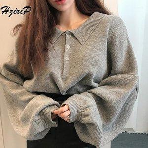 Hzirip Cuello de giro suéter de punto Mujer 2018 otoño moda larga linterna manga suelta sólido jersey femenino casual jumper1