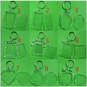 DIY Acrylic Blank Photo Keychains Shaped Clear Key Chains Insert Photo Plastic Keyrings Photo Frame FWA6834