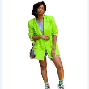 Women's Suits & Blazers Neon Green Long Women Notched Collar Double Breasted Autumn Style High Street Fashion Lady MYS313