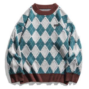 Green Blue Black Mens Knitted Sweater Hip Hop Streetwear Cotton Loose Pullover Men Women Autumn Knitwear Sweater Oversize