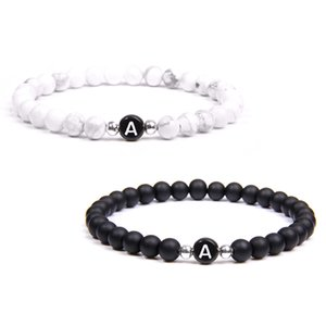 Black White Stone Diy Id 26 Letters for Women Men Couple Jewelry Name Friendship Lucky Bead Bracelet Kids Gift