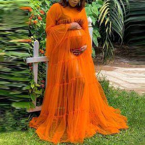 Fashion See Through Sleepwear Maternity Robe Women Dress Long Sleeves Sheer Tulle Dresses for Photo Shoot Orange Nightwear Robes
