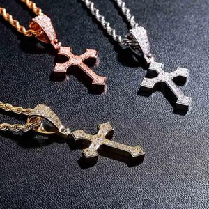 Hip Hop Cross High Quality Pendant Necklace Cubic Zirconia With Gold Tennis Chain Fashion Jewelry For Women Men Gifts Necklaces