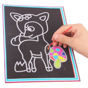 Magic Color Scratch Art Paper Coloring Cards Available On Both Sides Scraping Drawing Toys For more than 3 years Kids Random