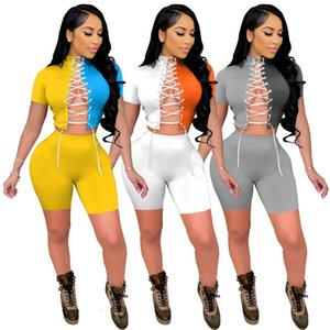 summer New womens tracksuits slim personalized contrast short sleeve high elastic fabric sexy lace up two piece sets Fashion Casual shorts Suit