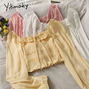 Yitimoky Women Shirts Blouses Long Sleeve Top Spring Fashion Ladies Clothes Short Casual Slash Neck Puff Sleeve Folds Tops 210522