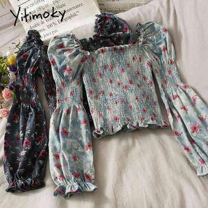 Yitimoky Blouses Women Spring Vintage Fashion Long Sleeve Puff Sleeve Top Short Print Slash Neck Edible Tree Fungus Clothes 210522
