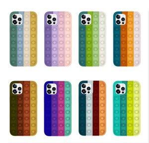 Push Bubble Fidget Caja de juguete Cajas de teléfono de silicona de descompresión para iPhone 12 11 Pro XS MAX XR 7 8 PLUS DRIVER TRIVER THUPTH a prueba de choques