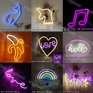 LED Neon Sign SMD2835 Indoor Night Light HELLO HOME LOVE MUSIC Model Holiday Xmas Party Wedding Decorations Table Lamps EUB