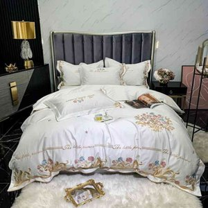 1000TC Egyptian Cotton Embroidery Duvet Full Queen size 4Pcs Luxury Chic Bedding Set Quilt Cover Bed Sheet Pillowcases