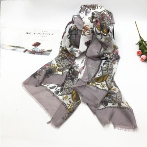 Ladies scarf satin printed flowers butterfly short fringed cotton and linen shawl
