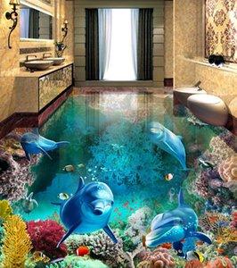 3D Photo Wall Paper 3D Stereo Underwater World Dolphins Floor Tiles Murals Bathroom Living Room Waterproof PVC Wallpaper ZHL1315