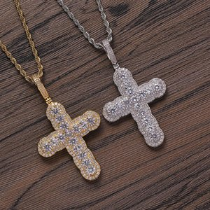 Hip Hop Full + CZ Stone Paved Bling Iced Out Cross Pendants Necklaces For Men Rapper Jewelry Drop Pendant