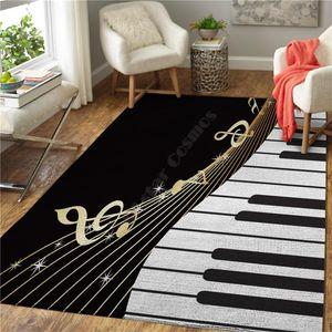 Piano Música Impresso Tapete Quadrado Anti-Skid Skid Tapete Tapete 3D Rug Deslizamento Sala de Jantar Vivendo Quarto Sofrio 02 Tapetes