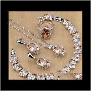 Wedding Drop Delivery 2021 S925 Sterling Sier Bridal Champagne Zircon Jewelry Sets For Women Earrings Pendant Necklace Rings Bracelet Ne63A