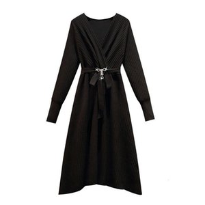 Style Knitted Long Sleeve Women Clothes Elegant Sashes Ukraine Black Office Ladies Chic Dress Plus Size Robes Casual Dresses