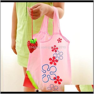 Storage Handbag Stberry Foldable Shopping Reusable Folding Grocery Nylon Bags Gift Bag For Party Wedding Festival Aqjjc 8Kgol