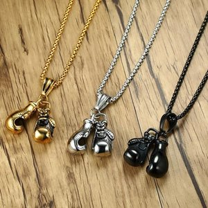 Sport Fitness Collares Stainless Steel Pendant Necklaces Mens Jewellery Colar Collier Double Boxing Glove Necklace Men Jewelry