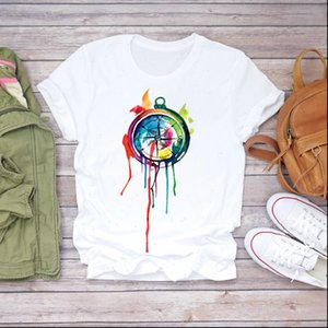 Women Womens Tops Watercolor Compass Fashion Vintage Clothes Lady T shirts Top Shirt Ladies Graphic Female Tee