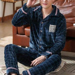 Ropa de dormir de los hombres Invierno grueso cálido suave flannel pijamas conjunto hombres noche pijama manga larga pijama traje casual homewear 45kg-105kg