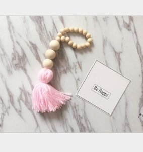Wood Beads Tassel Hanging Pendant Farmhouse Decor INS Nordic Creative Hemp Rope Beaded Children Home Decorative EWA4888