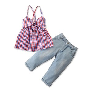 2PCS Toddler Baby Kids sweet summer outfit set sleeveless bowknot Plaid Tops T-shirt Denim Pants Outfits Clothes