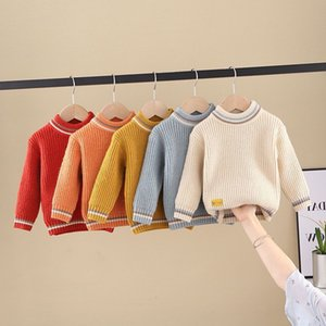 PHILOLOGY pure color fall winter boy girl kid thick crew neck shirts solid long sleeve pullover sweater LJ201130 84 Z2