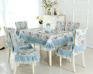 Chinese and European tablecloth cushion square tea table cloth lace dining chair cover set