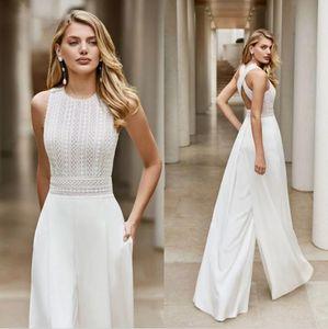 Богемный комбинезон кружева свадебные платья свадебные платья 2021 стойка регистрации невесты пляж на сад шифон женские трусики костюмы Vestido de Noiva