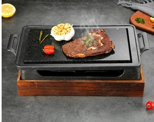 Mini barbecue grill table BBQ rock barbecue pan teppanyaki western restaurant steak plate high temperature slate bbq plate 35X22CM 064-6