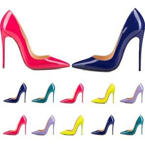 Mulheres Vestido Sapatos Vermelho Bottom High Saltos Mulheres Luxurys Designers Genuíno Bombas de Couro Senhora Sandálias Bottoms com caixa 041501