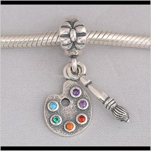 Original 925 Sterling Sier Charm Cute Artists Palette With Crystal Pendant Bead Fit Pandora Bracelet Necklace Jewelry Ps2066 M5Nwd Cjlb9