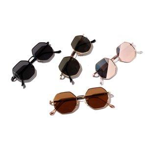 2021 Мода Солнцезащитные очки Ретро Полигон Мужчины Роскошный Розовый объектив Круглый Винтаж Маленькая Рамка Зеркальный Цвет