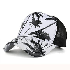 Feitong Hip hop mesh baseball cap Men women coconut tree print snapback caps Unisex adjustable outdoor streetwear trucker hat1 994 Q2