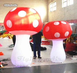 Personalized Lighting Inflatable Replica LED Plant Model Red Blow Up Mushroom Balloon For Nightclub Party Decoration FVEE