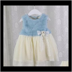 Girls Dresses Winter Kids Princess Pure Color Baby Cotton Cony Hair Jumper With Bear And Bottons Dress Sweet Adorable Outfits Vt Pfadk