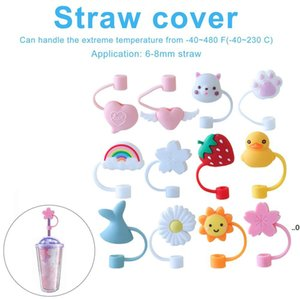 Creative Silicone Straw Tips Cover Reusable Drinking Dust Cap Splash Proof Plugs Lids Anti-dust Tip Sunflower Cherry Blossom Rainbow FWF9135