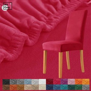 Red Velvet Chair Cover With Back Spandex Stretch Covers Dining Room Elastic Seat For Computer Chairs