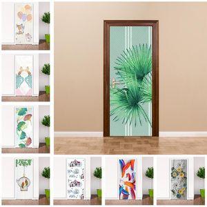 Wallpapers Cartoon Door Sticker Waterproof PVC DIY Self-adhesive 3D Stereoscopic Wallpaper For Bathroom Living Room Doors Home Decor Po