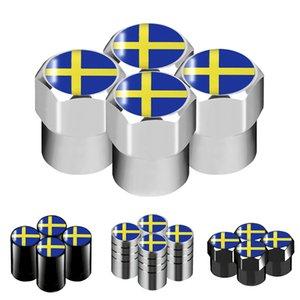 1pcs Car Styling Sweden Flag Emblem Wheel Tire Valves Tyre Air Caps Case for Volvo V70 XC60 S60 V60 V40 decoration Accessories