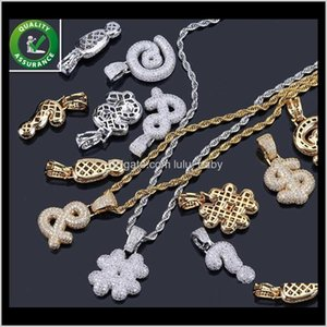 Necklaces Hip Hop Mens Gold Chain Pendants Diamond Necklace Iced Out Cz Symbol Pendant Bling Luxury Pandora Style Charms Rapper Rock M Bgvm6