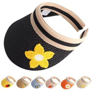 Women Girls Straw Visor Cap Outdoor Summer Beach Party Sun Hat UV Protection Fruit Flower Wide Brim