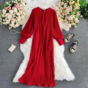 Lässige Kleider Frühling Herbst Mode Temperament Lange Vestido Weibliche Hohe Taille Reine Farbe Hedging Rundhals-Plissee Kleid Sleeve UK434 F5JO