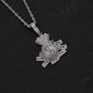 Hip Hop CZ Stone Paved Bling Iced Out US Dollars Sign Money Bag Pendants Necklace For Men Rapper Jewelry Drop Pendant Necklaces