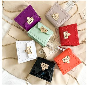 Children's rivet lock chain handbag jelly candy color fashion mini one-shoulder diagonal bag