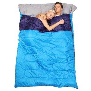كيس النوم المزدوج -5 -10 درجة الكبار المحمولة التخييم اتساع سميكة القطن عاشق زوجين السفر الدافئة